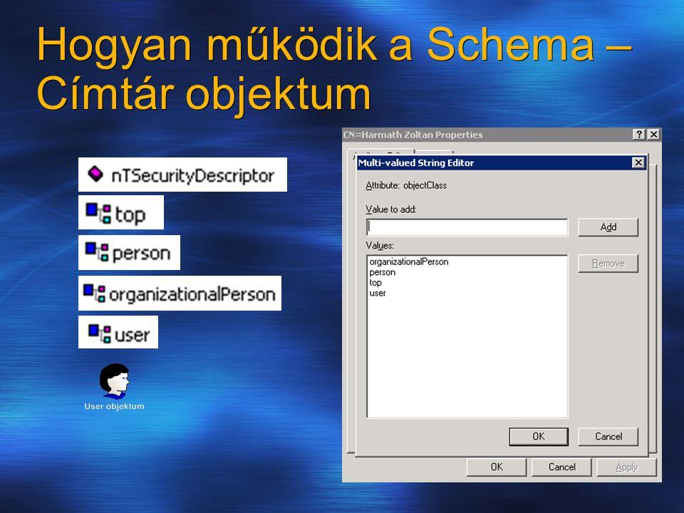 Hogy működik a Schema Hol tároljuk Az Active Directory tartományban, vagyis az ntds.dit fájlban.