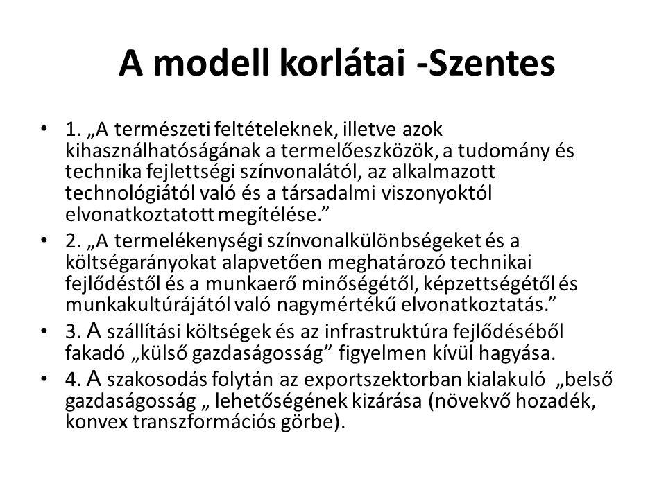 """A modell korlátai -Szentes 1. """"A természeti feltételeknek, illetve azok kihasználhatóságának a termelőeszközök, a tudomány és technika fejlettségi szí"""