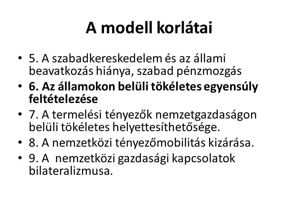 A modell korlátai 5. A szabadkereskedelem és az állami beavatkozás hiánya, szabad pénzmozgás 6. Az államokon belüli tökéletes egyensúly feltételezése