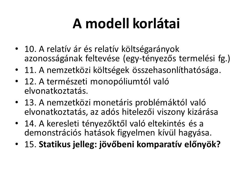 A modell korlátai 10. A relatív ár és relatív költségarányok azonosságának feltevése (egy-tényezős termelési fg.) 11. A nemzetközi költségek összehaso