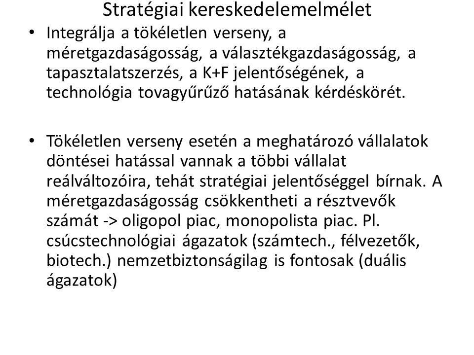 Stratégiai kereskedelemelmélet Integrálja a tökéletlen verseny, a méretgazdaságosság, a választékgazdaságosság, a tapasztalatszerzés, a K+F jelentőség