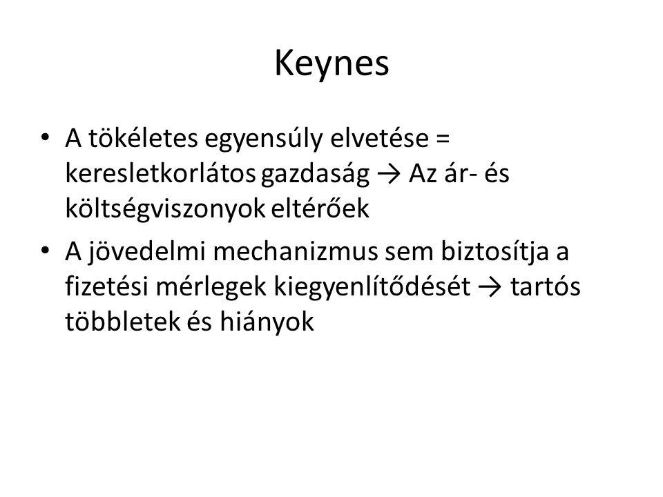 Keynes A tökéletes egyensúly elvetése = keresletkorlátos gazdaság → Az ár- és költségviszonyok eltérőek A jövedelmi mechanizmus sem biztosítja a fizet