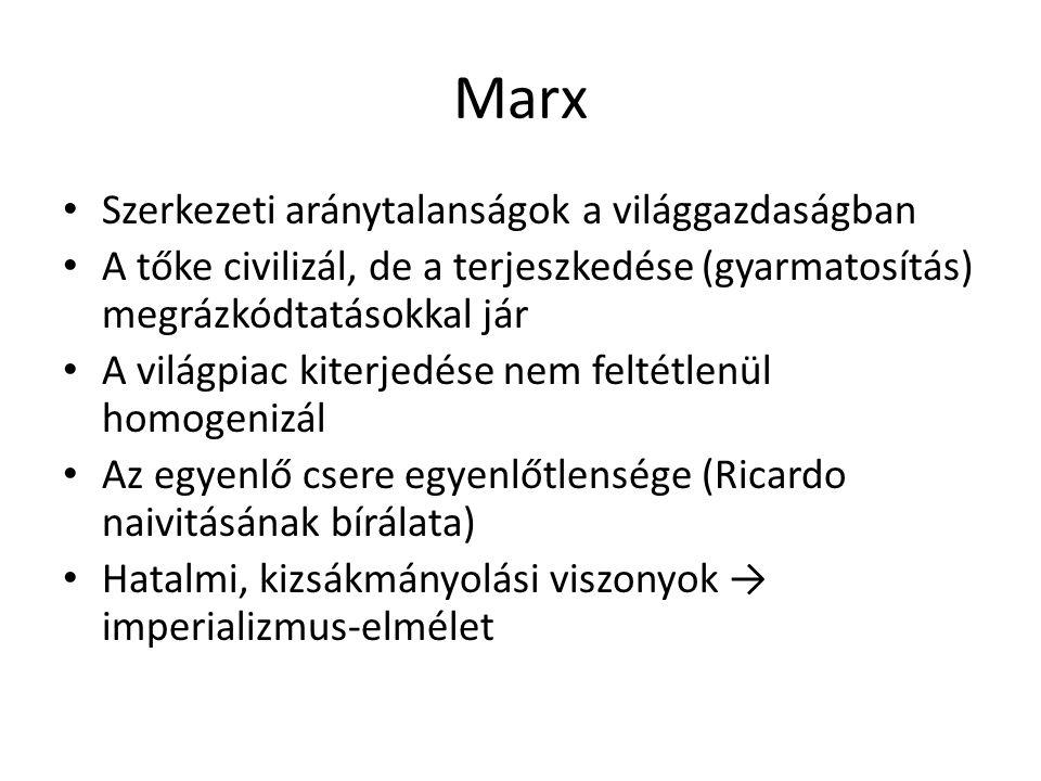 Marx Szerkezeti aránytalanságok a világgazdaságban A tőke civilizál, de a terjeszkedése (gyarmatosítás) megrázkódtatásokkal jár A világpiac kiterjedés