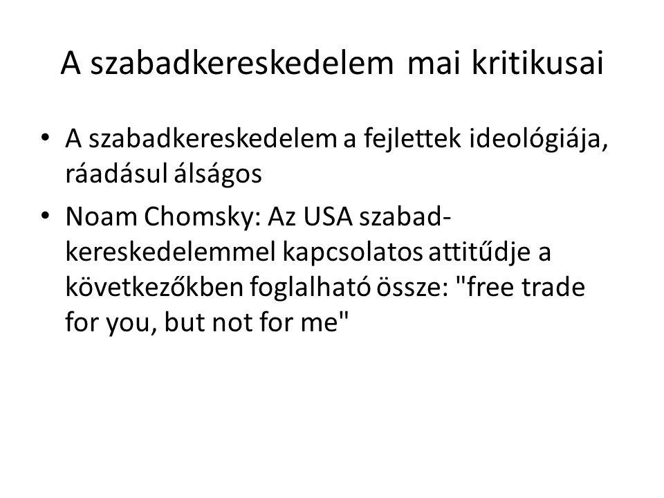 A szabadkereskedelem mai kritikusai A szabadkereskedelem a fejlettek ideológiája, ráadásul álságos Noam Chomsky: Az USA szabad- kereskedelemmel kapcso