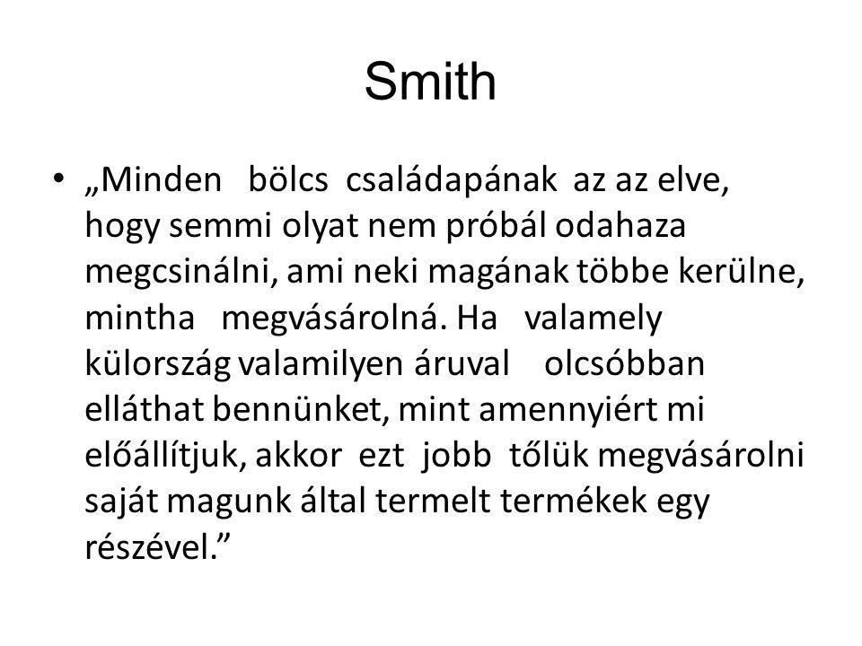 """Smith """"Minden bölcs családapának az az elve, hogy semmi olyat nem próbál odahaza megcsinálni, ami neki magának többe kerülne, mintha megvásárolná. Ha"""