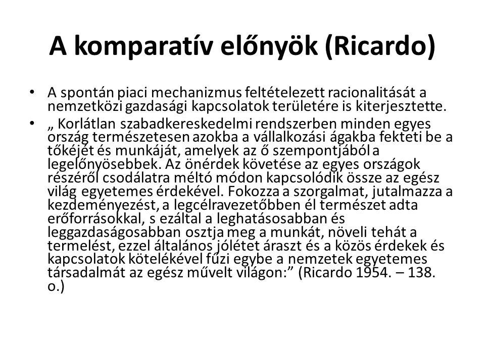 A komparatív előnyök (Ricardo) A spontán piaci mechanizmus feltételezett racionalitását a nemzetközi gazdasági kapcsolatok területére is kiterjesztett