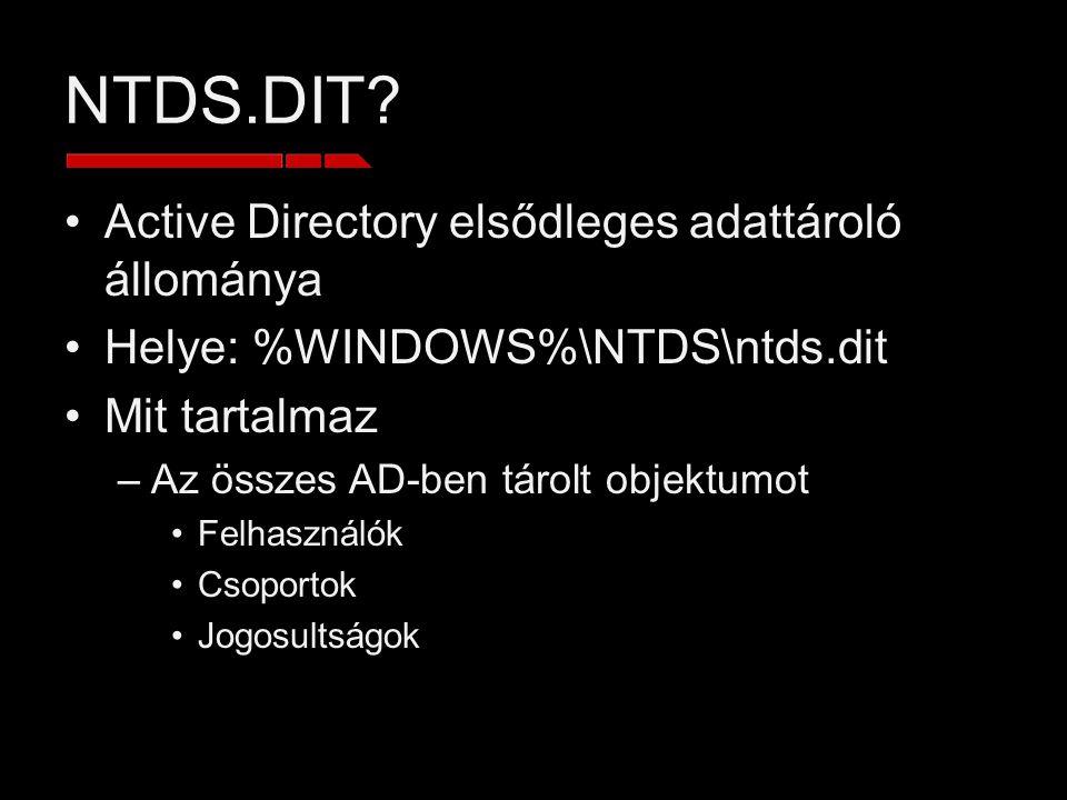 NTDS.DIT? Active Directory elsődleges adattároló állománya Helye: %WINDOWS%\NTDS\ntds.dit Mit tartalmaz –Az összes AD-ben tárolt objektumot Felhasznál