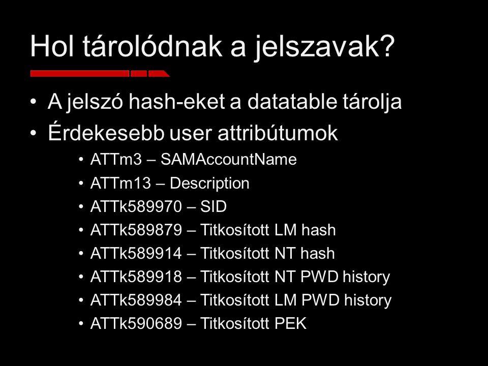 Hol tárolódnak a jelszavak? A jelszó hash-eket a datatable tárolja Érdekesebb user attribútumok ATTm3 – SAMAccountName ATTm13 – Description ATTk589970