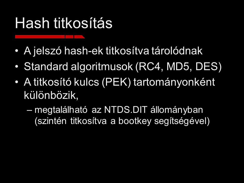 Hash titkosítás A jelszó hash-ek titkosítva tárolódnak Standard algoritmusok (RC4, MD5, DES) A titkosító kulcs (PEK) tartományonként különbözik, –megt