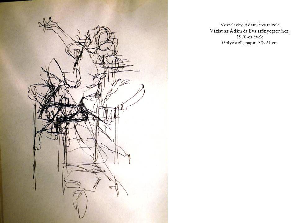 Veszelszky Ádám-Éva rajzok Vázlat az Ádám és Éva szőnyegtervhez, 1970-es évek Golyóstoll, papír, 30x21 cm