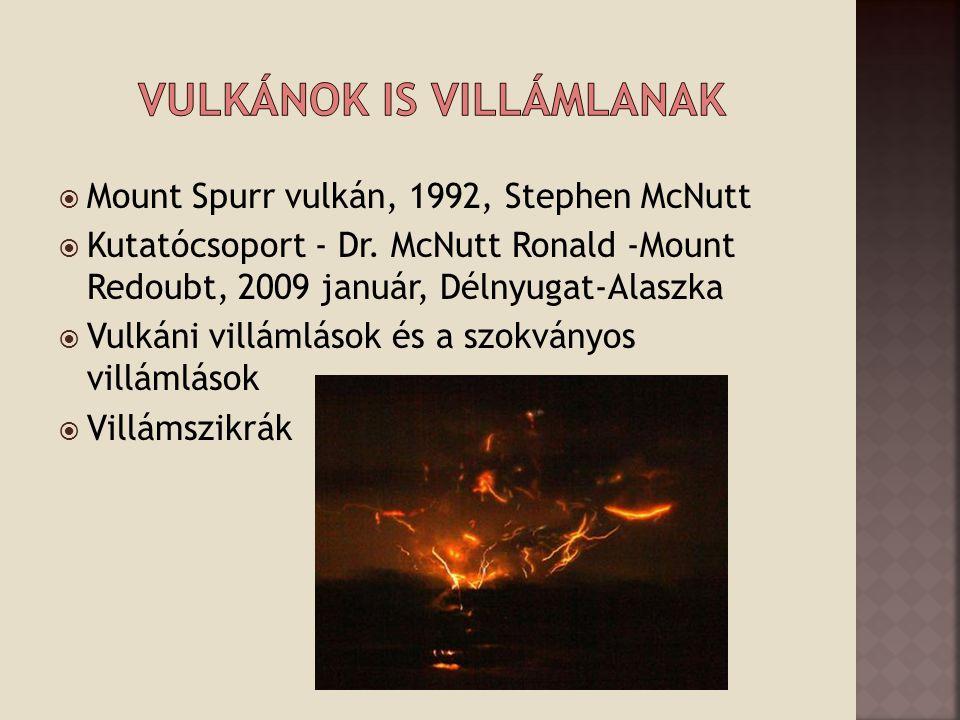  Mount Spurr vulkán, 1992, Stephen McNutt  Kutatócsoport - Dr. McNutt Ronald -Mount Redoubt, 2009 január, Délnyugat-Alaszka  Vulkáni villámlások és
