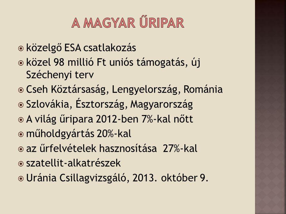  közelgő ESA csatlakozás  közel 98 millió Ft uniós támogatás, új Széchenyi terv  Cseh Köztársaság, Lengyelország, Románia  Szlovákia, Észtország, Magyarország  A világ űripara 2012-ben 7%-kal nőtt  műholdgyártás 20%-kal  az űrfelvételek hasznosítása 27%-kal  szatellit-alkatrészek  Uránia Csillagvizsgáló, 2013.