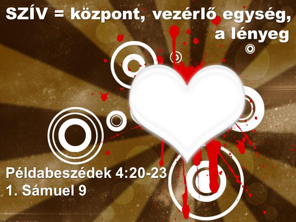 Példabeszédek 4:20-23 1. Sámuel 9 SZÍV = központ, vezérlő egység, a lényeg a lényeg