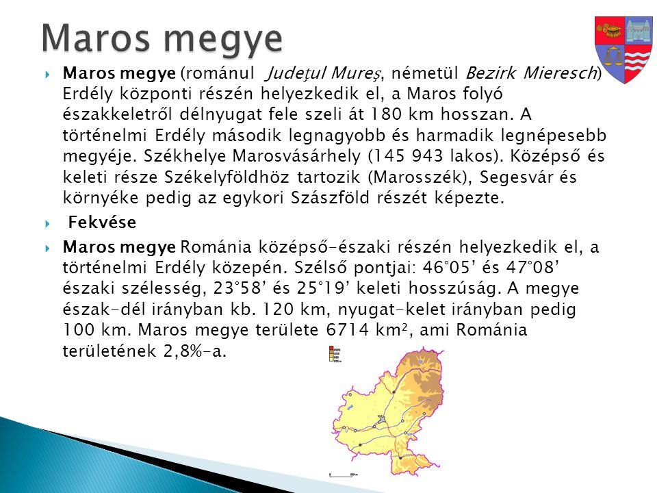  Maros megye (románul Judeul Mure, németül Bezirk Mieresch) Erdély központi részén helyezkedik el, a Maros folyó északkeletről délnyugat fele szeli á