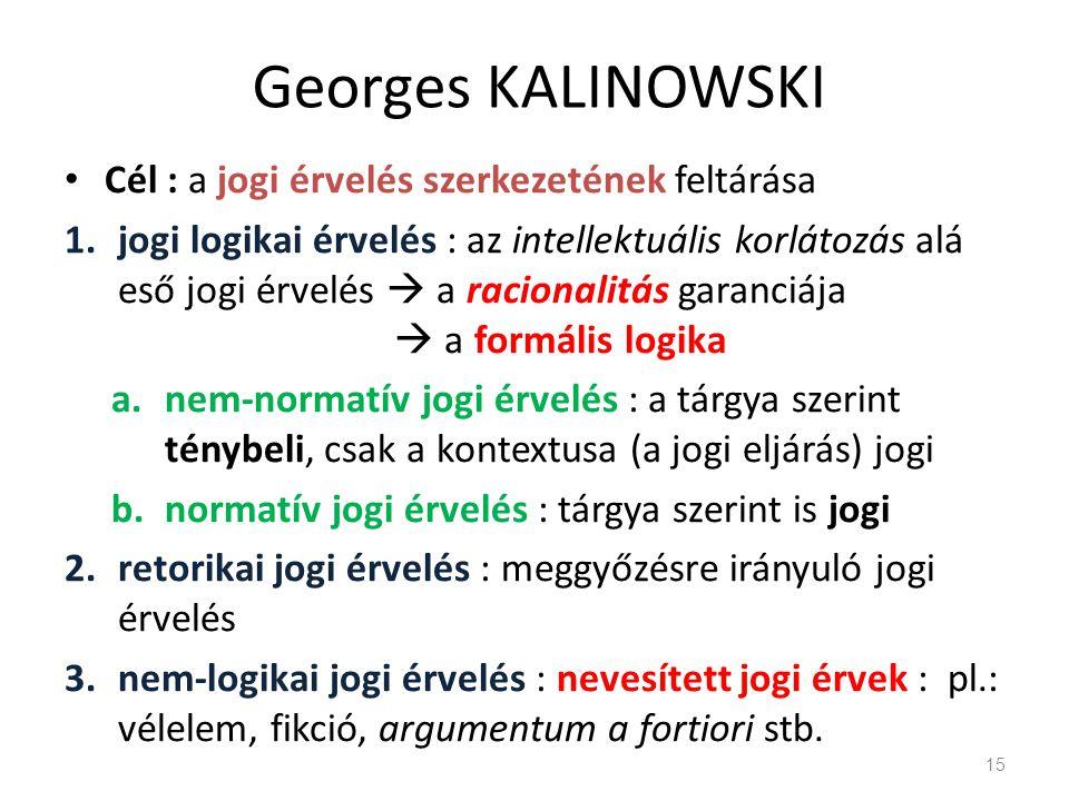 Georges KALINOWSKI Cél : a jogi érvelés szerkezetének feltárása 1.jogi logikai érvelés : az intellektuális korlátozás alá eső jogi érvelés  a raciona