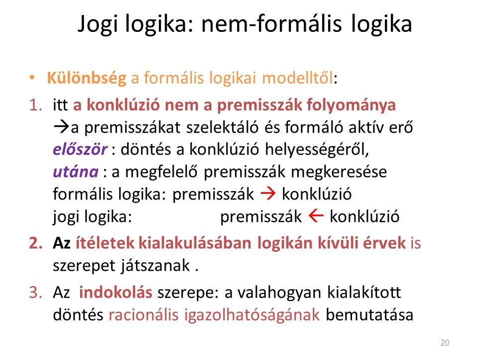 Jogi logika: nem-formális logika Különbség a formális logikai modelltől: 1.itt a konklúzió nem a premisszák folyománya  a premisszákat szelektáló és