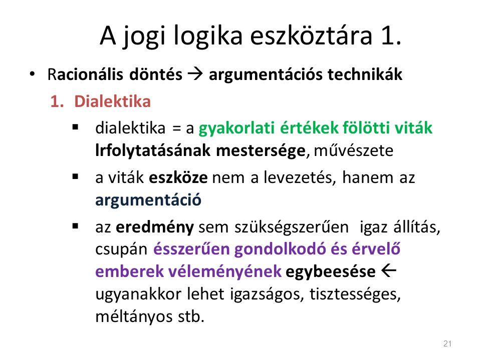A jogi logika eszköztára 1. Racionális döntés  argumentációs technikák 1.Dialektika  dialektika = a gyakorlati értékek fölötti viták lrfolytatásának