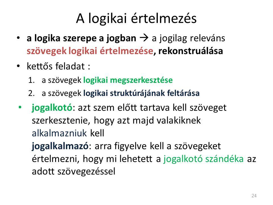 A logikai értelmezés a logika szerepe a jogban  a jogilag releváns szövegek logikai értelmezése, rekonstruálása kettős feladat : 1.a szövegek logikai