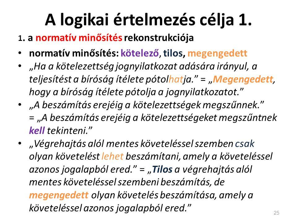 """A logikai értelmezés célja 1. 1. a normatív minősítés rekonstrukciója normatív minősítés: kötelező, tilos, megengedett """"Ha a kötelezettség jognyilatko"""