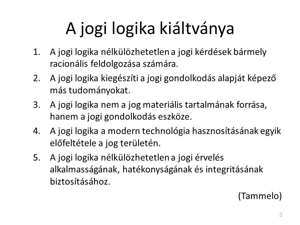 Jog és logika : MOÓR GYULA A logikai törvények magasabb rendűek és elsődlegesek a jogi törvényekhez képest – a jog csak érvényre juttatja a logikai szükségszerűséget.
