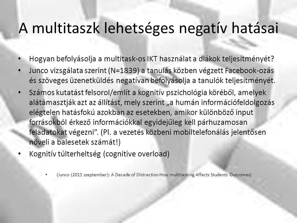 A multitaszk lehetséges negatív hatásai Hogyan befolyásolja a multitask-os IKT használat a diákok teljesítményét? Junco vizsgálata szerint (N=1839) a
