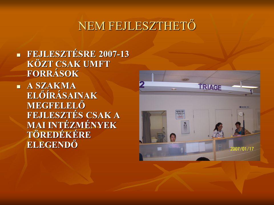 NEM FEJLESZTHETŐ FEJLESZTÉSRE 2007-13 KÖZT CSAK UMFT FORRÁSOK FEJLESZTÉSRE 2007-13 KÖZT CSAK UMFT FORRÁSOK A SZAKMA ELŐÍRÁSAINAK MEGFELELŐ FEJLESZTÉS CSAK A MAI INTÉZMÉNYEK TÖREDÉKÉRE ELEGENDŐ A SZAKMA ELŐÍRÁSAINAK MEGFELELŐ FEJLESZTÉS CSAK A MAI INTÉZMÉNYEK TÖREDÉKÉRE ELEGENDŐ