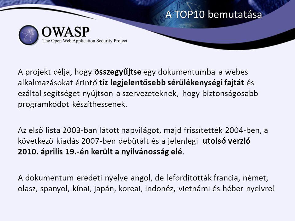 A TOP10 bemutatása A projekt célja, hogy összegyűjtse egy dokumentumba a webes alkalmazásokat érintő tíz legjelentősebb sérülékenységi fajtát és ezált