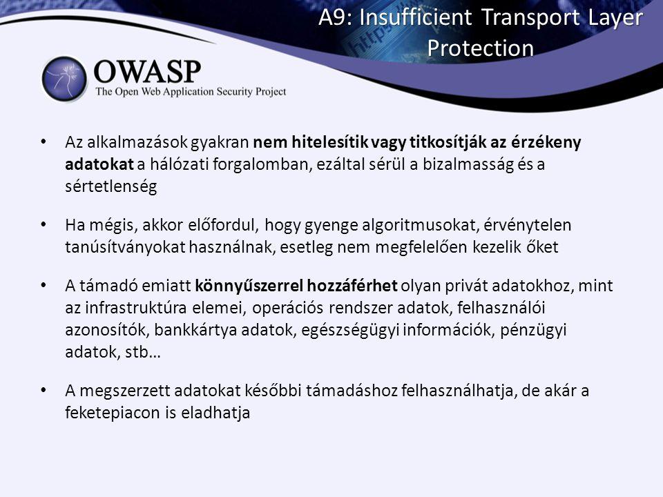A9: Insufficient Transport Layer Protection Az alkalmazások gyakran nem hitelesítik vagy titkosítják az érzékeny adatokat a hálózati forgalomban, ezál