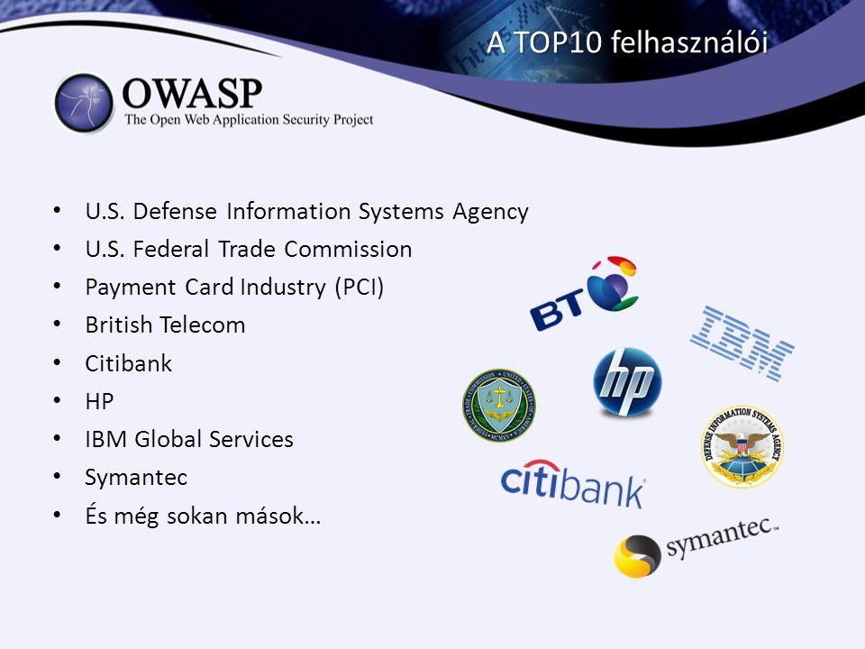 A TOP10 felhasználói U.S. Defense Information Systems Agency U.S. Federal Trade Commission Payment Card Industry (PCI) British Telecom Citibank HP IBM