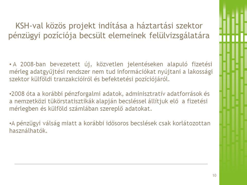 KSH-val közös projekt indítása a háztartási szektor pénzügyi pozíciója becsült elemeinek felülvizsgálatára A 2008-ban bevezetett új, közvetlen jelenté
