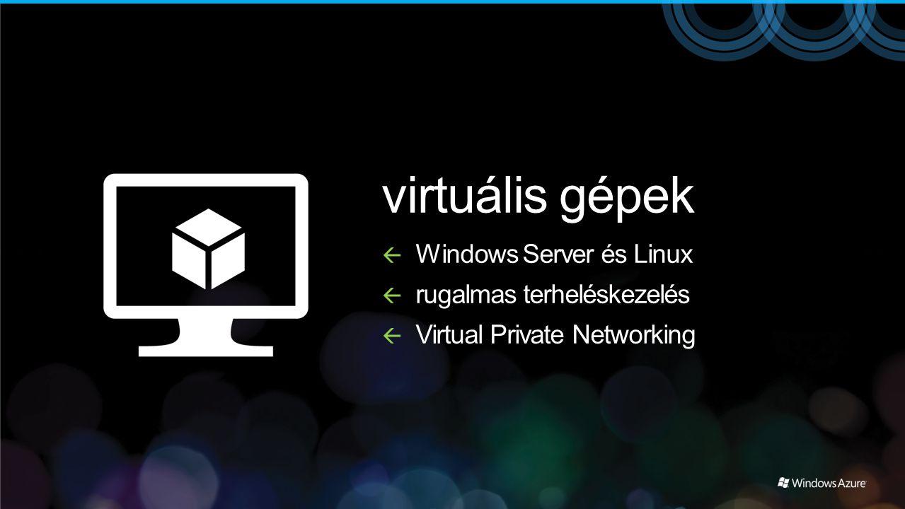 virtuális gépek  Windows Server és Linux  rugalmas terheléskezelés  Virtual Private Networking