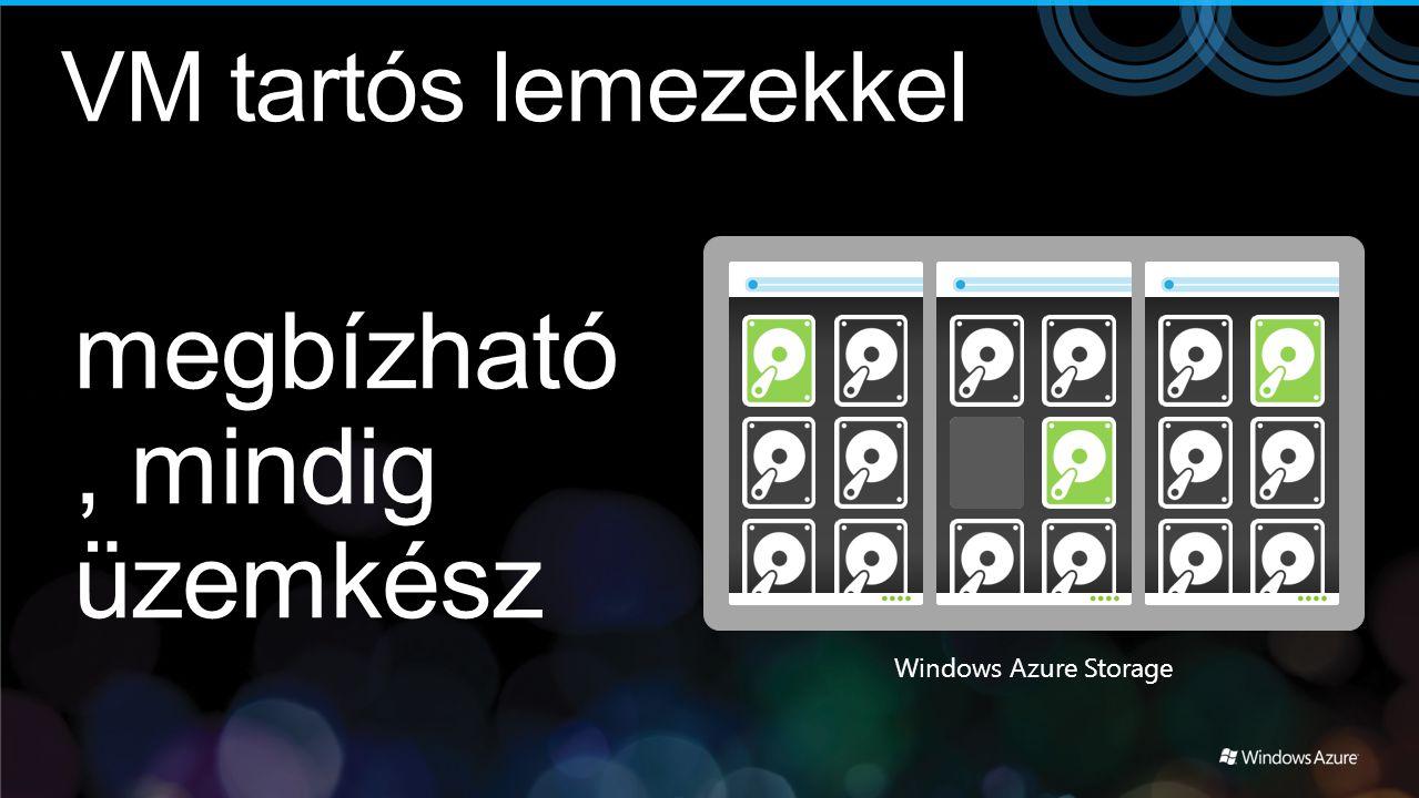 megbízható, mindig üzemkész Windows Azure Storage VM tartós lemezekkel