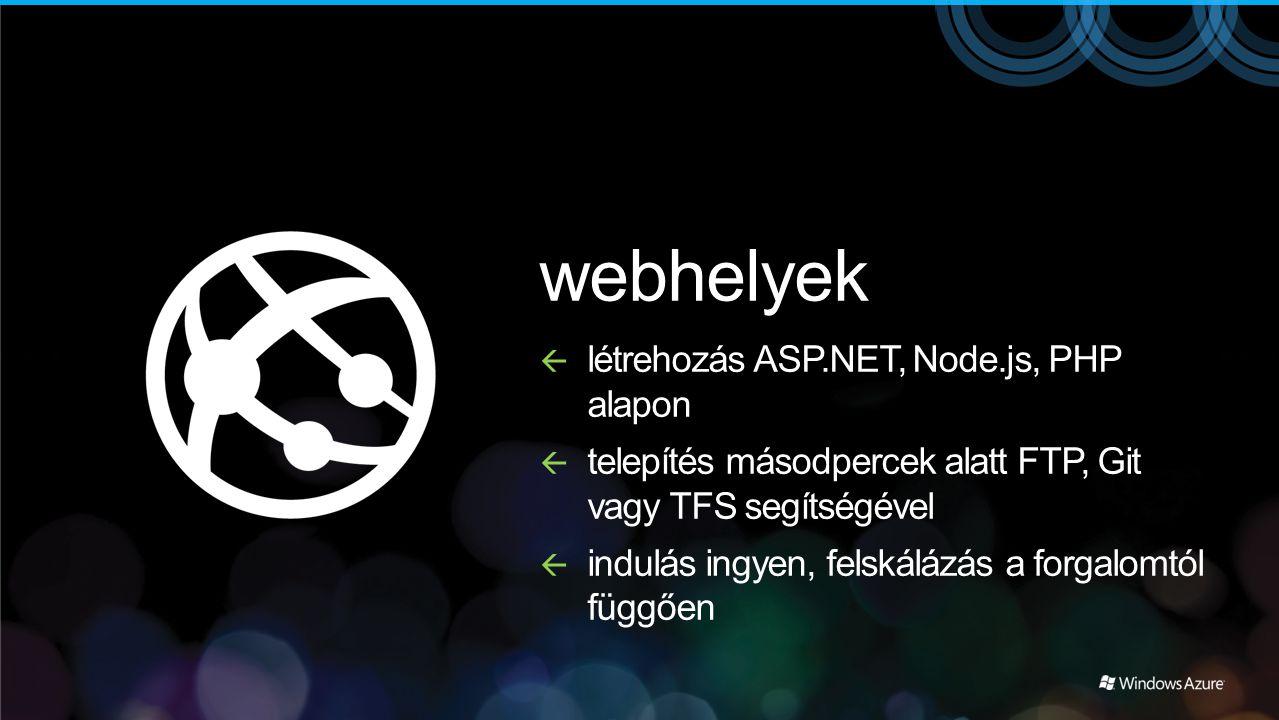 webhelyek  létrehozás ASP.NET, Node.js, PHP alapon  telepítés másodpercek alatt FTP, Git vagy TFS segítségével  indulás ingyen, felskálázás a forga