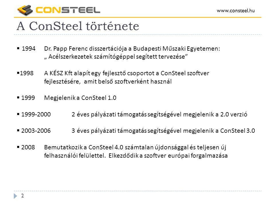 A ConSteel története www.consteel.hu 2  1994Dr.