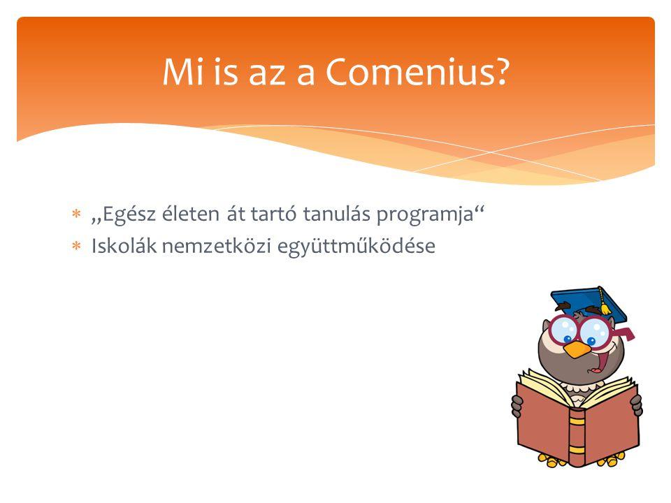 """ """"Egész életen át tartó tanulás programja  Iskolák nemzetközi együttműködése Mi is az a Comenius?"""