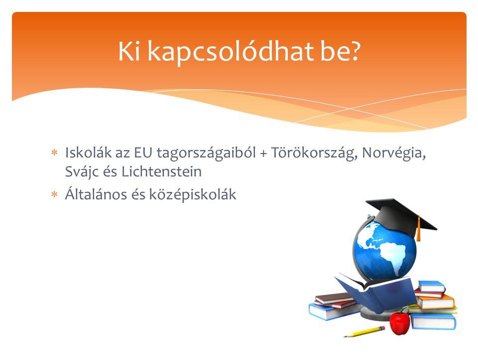  Iskolák az EU tagországaiból + Törökország, Norvégia, Svájc és Lichtenstein  Általános és középiskolák Ki kapcsolódhat be?