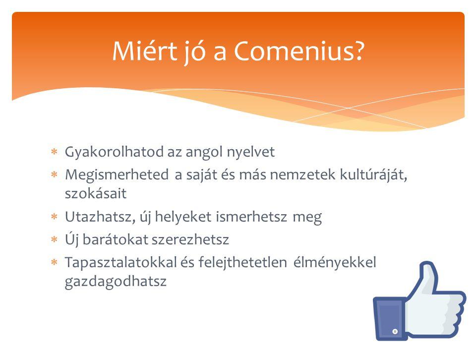  Gyakorolhatod az angol nyelvet  Megismerheted a saját és más nemzetek kultúráját, szokásait  Utazhatsz, új helyeket ismerhetsz meg  Új barátokat szerezhetsz  Tapasztalatokkal és felejthetetlen élményekkel gazdagodhatsz Miért jó a Comenius?