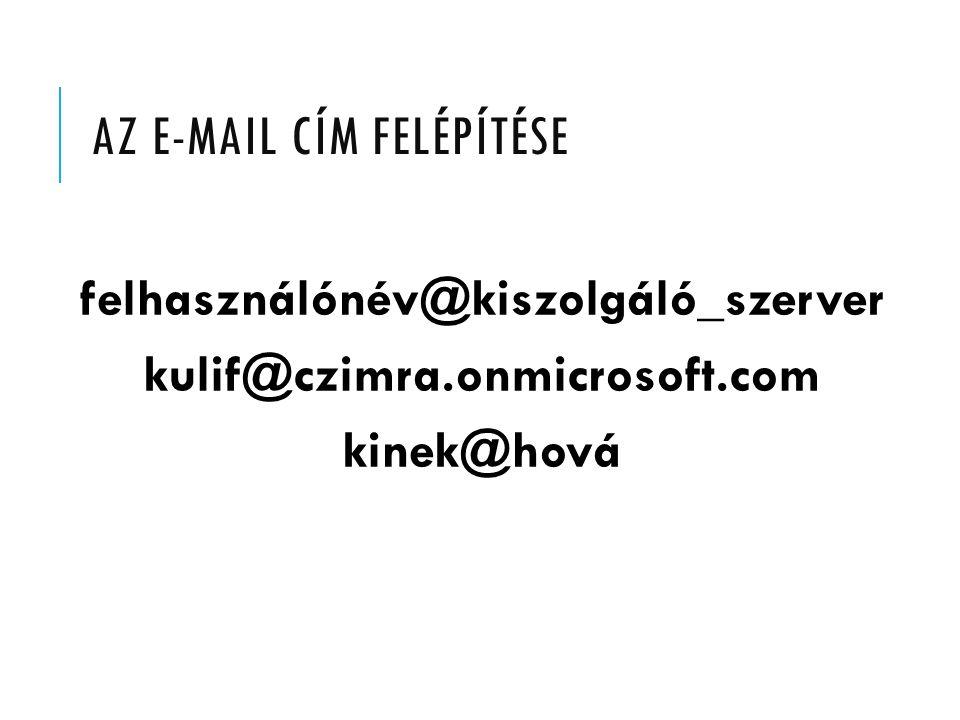 AZ E-MAIL CÍM FELÉPÍTÉSE felhasználónév@kiszolgáló_szerver kulif@czimra.onmicrosoft.com kinek@hová