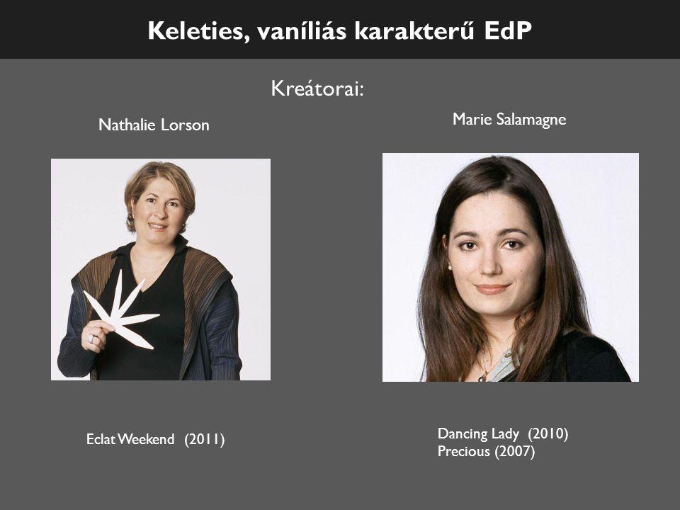 Keleties, vaníliás karakterű EdP Kreátorai: Eclat Weekend (2011) Nathalie Lorson Marie Salamagne Dancing Lady (2010) Precious (2007)