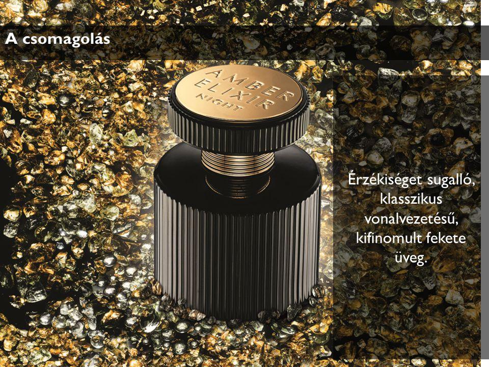 A csomagolás Érzékiséget sugalló, klasszikus vonalvezetésű, kifinomult fekete üveg.