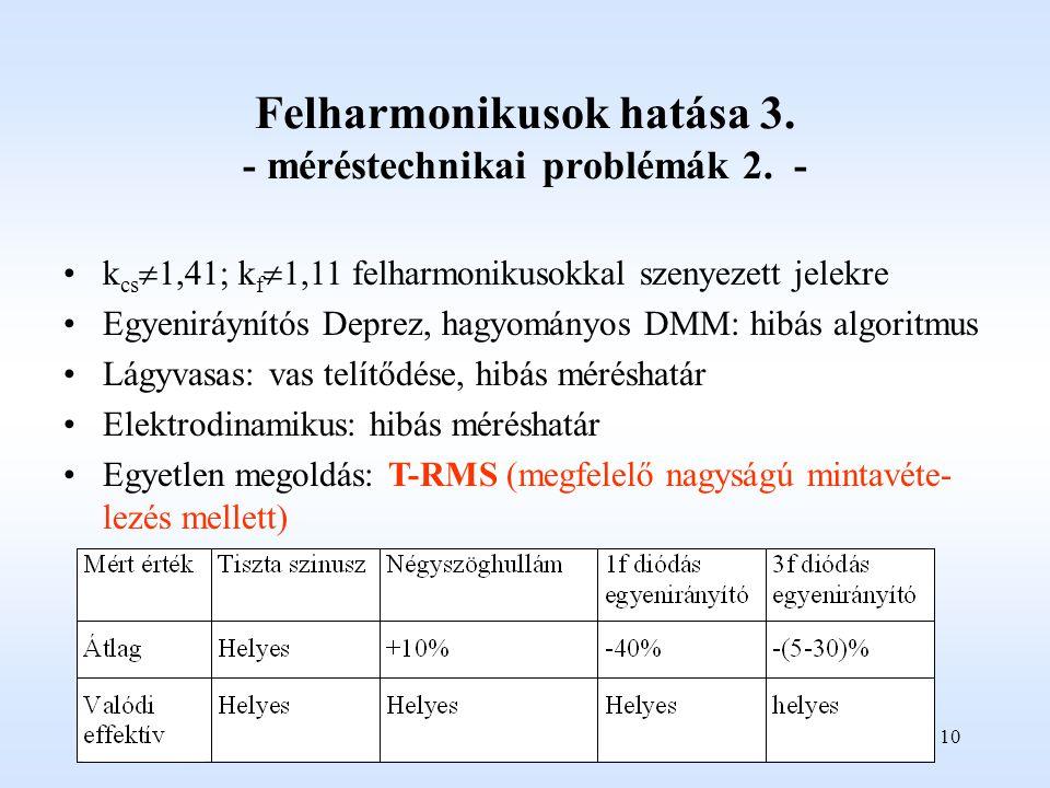 10 Felharmonikusok hatása 3.- méréstechnikai problémák 2.