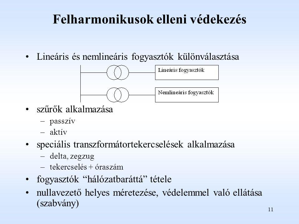 11 Felharmonikusok elleni védekezés Lineáris és nemlineáris fogyasztók különválasztása szűrők alkalmazása –passzív –aktív speciális transzformátortekercselések alkalmazása –delta, zegzug –tekercselés + óraszám fogyasztók hálózatbaráttá tétele nullavezető helyes méretezése, védelemmel való ellátása (szabvány)