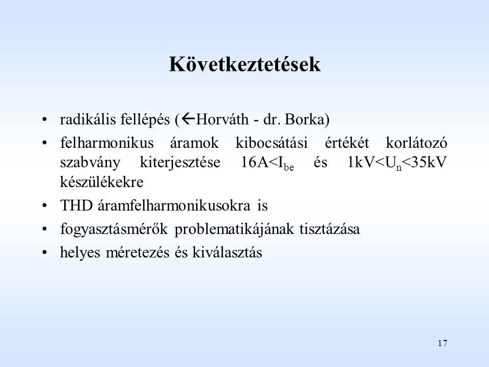 17 Következtetések radikális fellépés (  Horváth - dr.