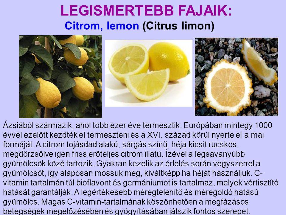 Citrom, lemon (Citrus limon) LEGISMERTEBB FAJAIK: Ázsiából származik, ahol több ezer éve termesztik. Európában mintegy 1000 évvel ezelőtt kezdték el t