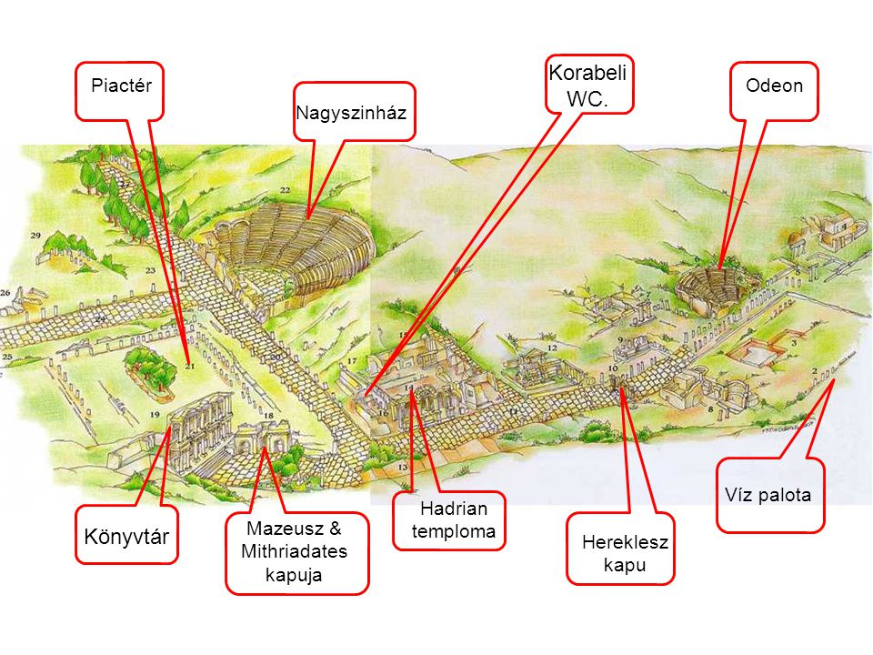 Víz palota OdeonPiactér Hadrian temploma Könyvtár Mazeusz & Mithriadates kapuja Nagyszinház Hereklesz kapu Korabeli WC.