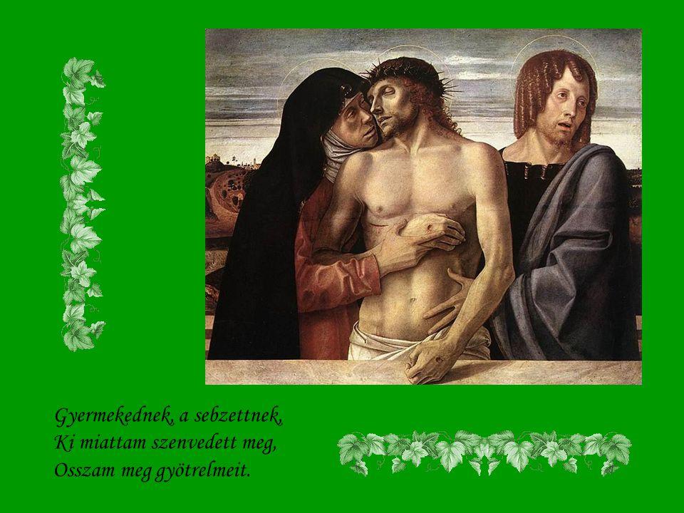 Esdek, hogy szívembe véssed, Szűzanyám, nagy szenvedésed S az Átvertnek sebeit.