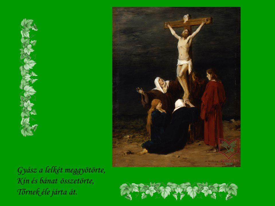 Áll a fájdalomnak anyja, Kín az arcát könnybe vonja. Úgy siratja szent Fiát.