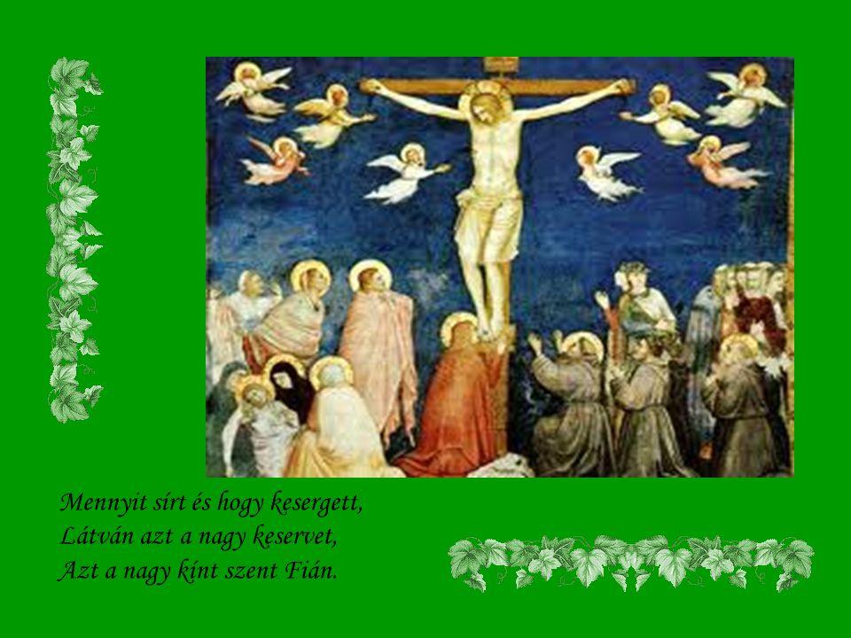 Mennyit sírt és hogy kesergett, Látván azt a nagy keservet, Azt a nagy kínt szent Fián.