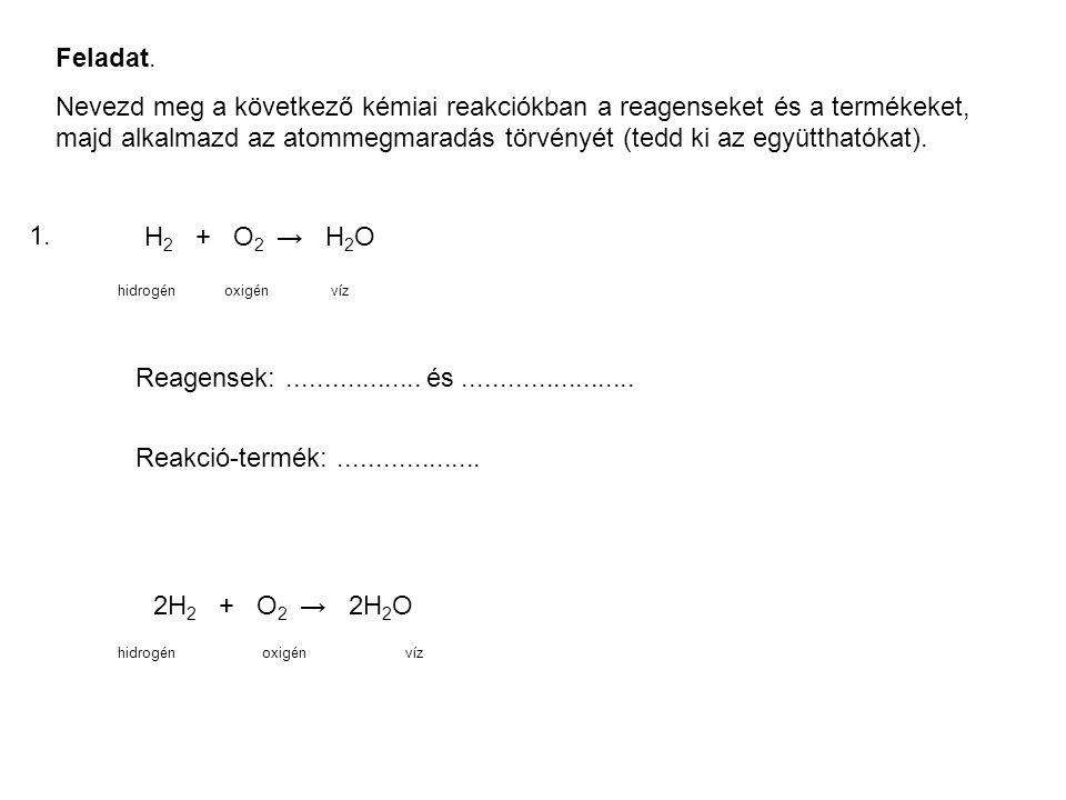 Feladat. Nevezd meg a következő kémiai reakciókban a reagenseket és a termékeket, majd alkalmazd az atommegmaradás törvényét (tedd ki az együtthatókat